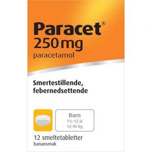 Paracet Smeltetabletter 250 mg 12 stk, Apotekfordeg, 13976