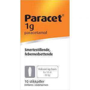 Paracet Stikkpiller 1 g 10 stk, Apotekfordeg, 180794