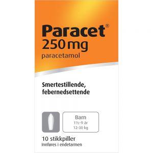 Paracet Stikkpiller 250 mg 10 stk, Apotekfordeg, 84970