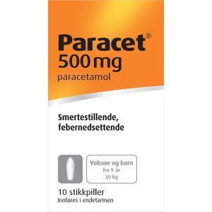 Paracet Stikkpiller 500 mg 10 stk, Apotekfordeg, 171199