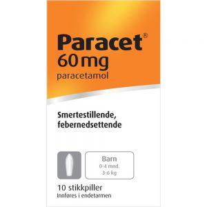 Paracet Stikkpiller 60 mg 10 stk, Apotekfordeg, 454819