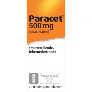 Paracet Tabletter Filmdrasjerte 500 mg 20 stk, Apotekfordeg, 563559