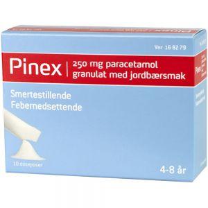 Pinex Granulat 250 mg Jordbær 10 doseposer, ApotekForDeg, 168279