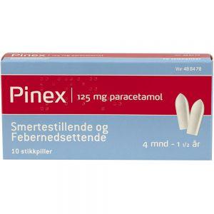 Pinex Stikkpiller 125 mg 10 stk, ApotekForDeg, 488478