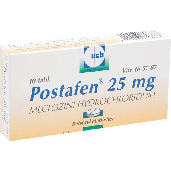 Postafen 25 mg Tabletter 10 stk - mot reisesyke, Apotekfordeg, 165787