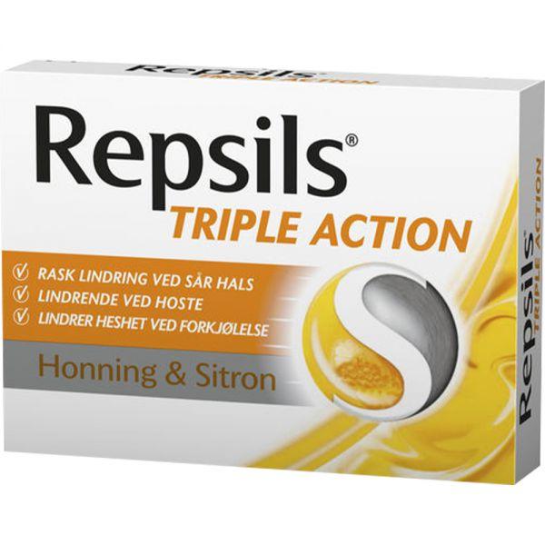 Repsils Triple Action Honning:Sitron 24 stk mot sår hals, Apotekfordeg, 928603