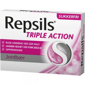 Repsils Triple Action Jordbær 24 stk ved sår hals, Apotekfordeg, 949626