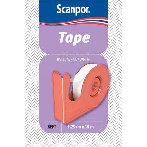 Scanpor 1,25 cm x 10 m Bandasjetape Hvit 1 stk - fiksering av bandasjer:kompresser, Apotekfordeg, 826933