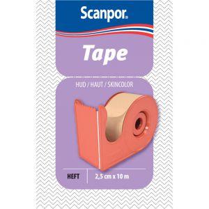 Scanpor 2,5 cm x 10 m Bandasjetape 1 stk - hudfarget med dispenser, Apotekfordeg, 838656