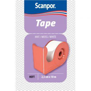 Scanpor 2,5 cm x 10 m Bandasjetape 1 stk - hvit med dispenser, Apotekfordeg, 826941