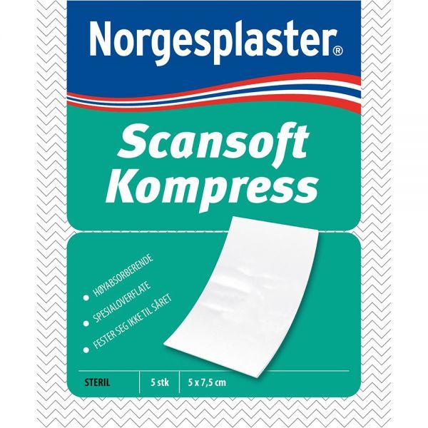 Scansoft Kompress 5 x 7,5 cm 5 stk - til væskende sår, Apotekfordeg, 822874