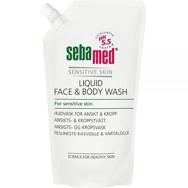 Sebamed liquid face and body wash refill, mild kroppsvask for alle hudtyper, 1l, ApotekForDeg, 922672