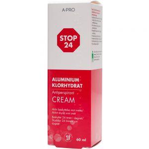Stop 24 antiperspirant krem som motvirker lukt og sterk svette, 60 ml, Apotekfordeg. 832924
