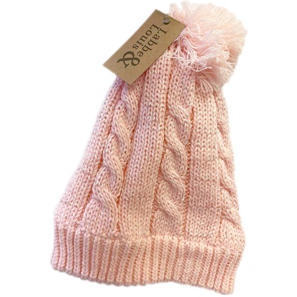 Strikket lue pale pink barn, ApotekForDeg, 820978