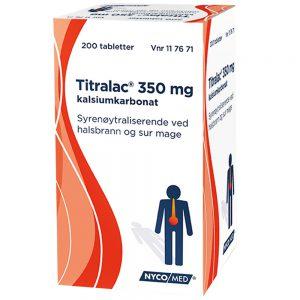 Titralac 350 mg syrenøytraliserende tabletter mot halsbrann og sur mage, Apotekfordeg, 117671