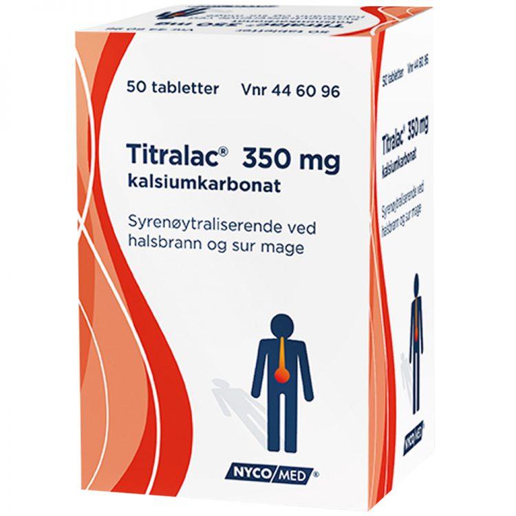 Titralac 350 mg syrenøytraliserende tabletter mot halsbrann og sur mage, Apotekfordeg, 446096