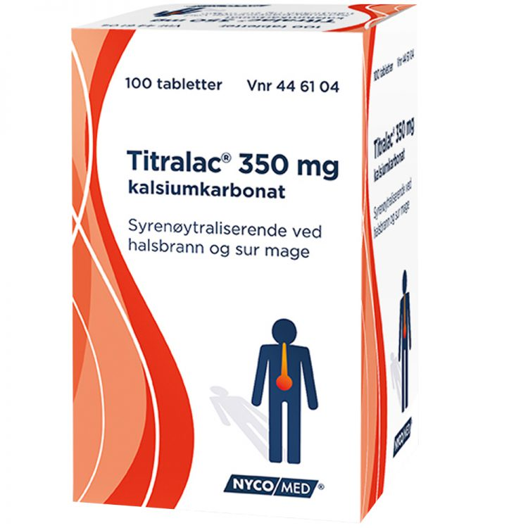Titralac 350 mg syrenøytraliserende tabletter mot halsbrann og sur mage, Apotekfordeg, 446104