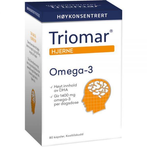 Triomar Hjerne Omega-3 Kapsler DHA+ 80 stk - for en sunn hjerne, Apotekfordeg, 809100