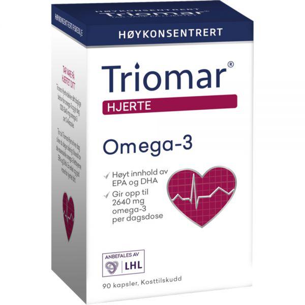 Triomar Hjerte Omega-3 Kapsler DHA og EPA+ 90 stk - for et sunt hjerte, Apotekfordeg, 961487