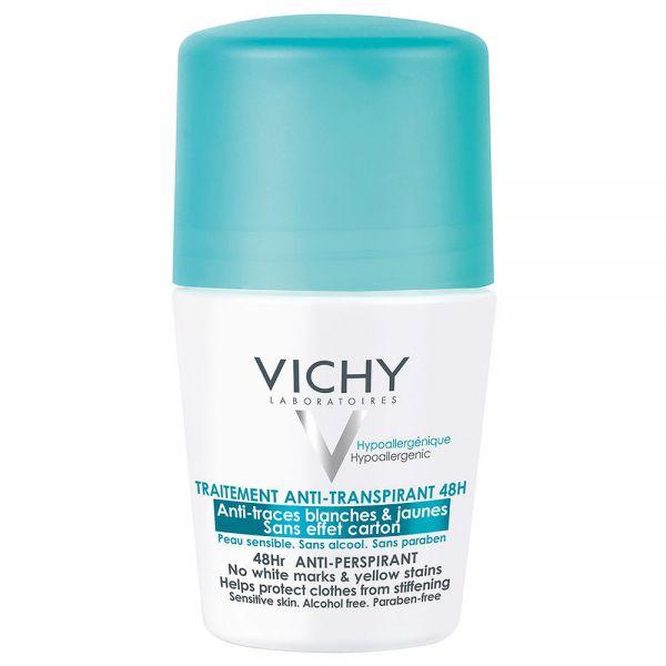 Vichy anti-trace antiperspirant deo roll-on 48h, motvirker hvite merker på klærne, 50 ml, apotekfordeg, 834794