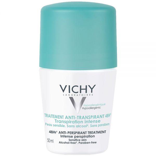 Vichy antiperspirant deo roll-on 48h, virker svettekontrollerende i 48 timer, 50 ml, apotekfordeg, 922235