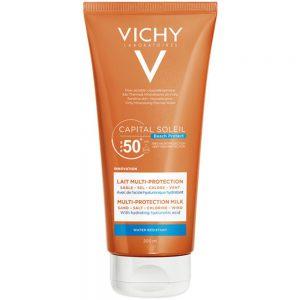 Vichy capital soleil multi protection milk SPF50+, fuktgivende solkrem som motvirker uttørking av huden, Apotekfordeg, 960056
