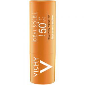 Vichy capital soleil solstift SPF50+, solbeskyttelse til sensitive og utsatte områder, 9 g, apotekfordeg, 913786