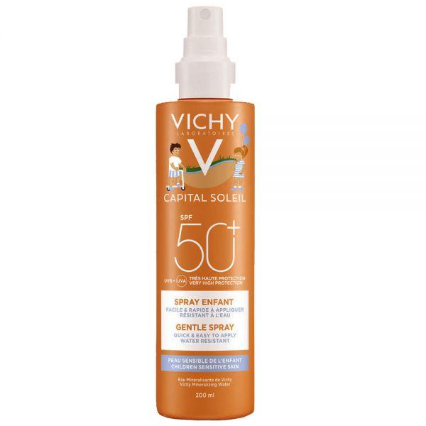Vichy capital soleil spray barn SPF50+, parfymefri solspray med høy beskyttelse, 200 ml, apotekfordeg, 857125