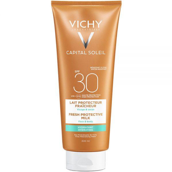 Vichy capital soleil wet skin SPF30, ultralett gelelotion for våt og tørr hud, Apotekfordeg, 928078