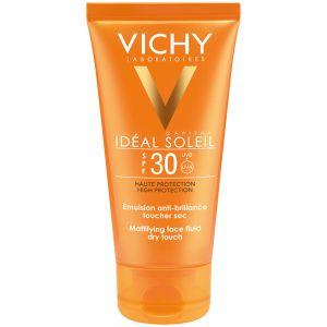 Vichy idéal soleil dry touch SPF30, mattende solkrem for blank hud, 50 ml, apotekfordeg, 904304