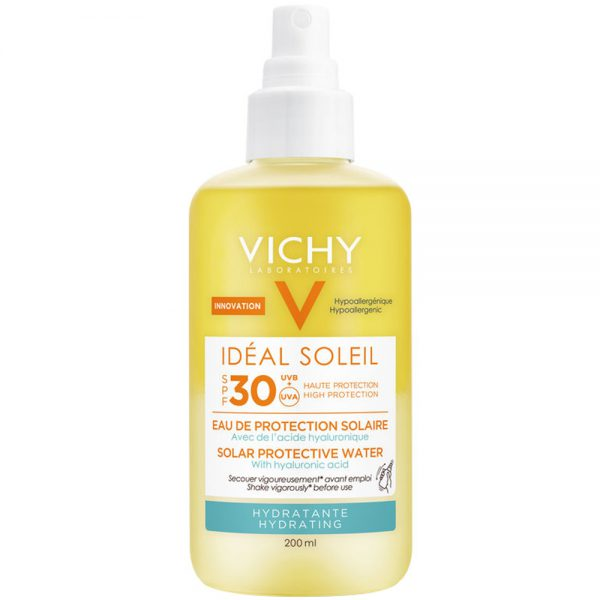 Vichy idéal soleil hydrating water solspray SPF30, med fuktgivende hyaluronsyre, Apotekfordeg, 953598