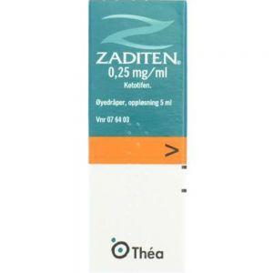 Zaditen øyedråper 0,25 mg:ml, 5 ml - rask lindring ved pollenallergi, Apotekfordeg, 76403