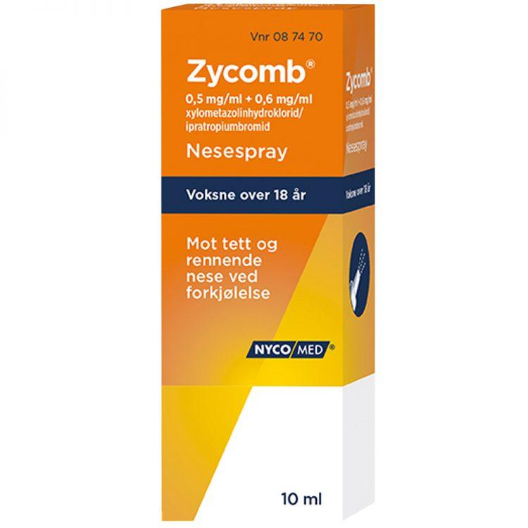 Zycomb nesespray, nesespray mot tett og rennende nese ved forkjølelse, 10ml, Apotekfordeg, 87470