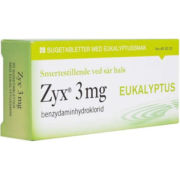 Zyx Sugetabletter 3 mg Eukalyptus 20 stk, ApotekForDeg, 455222