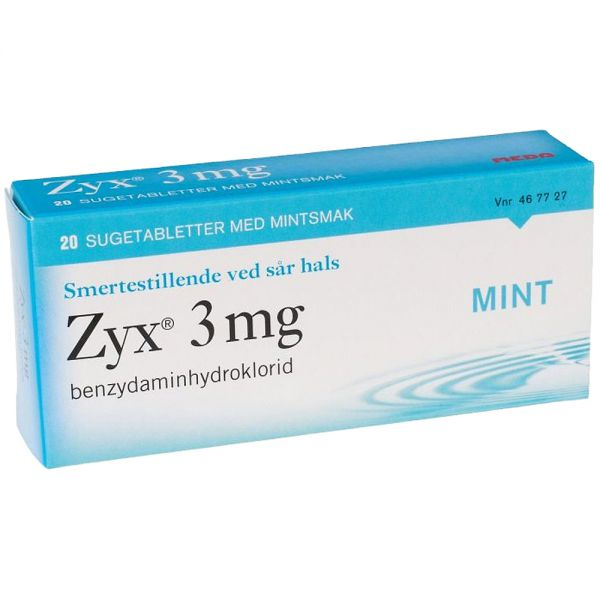 Zyx Sugetabletter 3 mg Mint 20 stk, ApotekForDeg, 467727