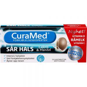 Curamed Råmelk Mentol og Lakris 20 stk - lindrer forkjølelsessymptomer, Apotekfordeg, 945583