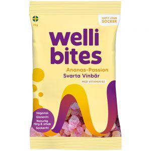 Wellibites Ananas, Pasjon & Solbær 70 g, Apotekfordeg, 889559