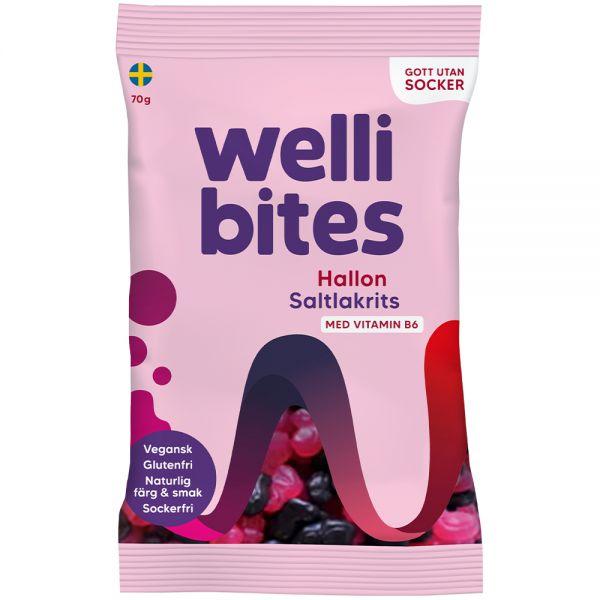 Wellibites Bringebær & Saltlakris 70 g, Apotekfordeg, 997665