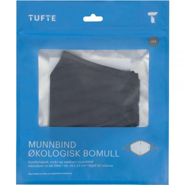 Tufte Face Mask Smoked Pearl, 1 stk tøymunnbind i bomull, 2 stk engangsfilter, Apotekfordeg, 887858 - 1