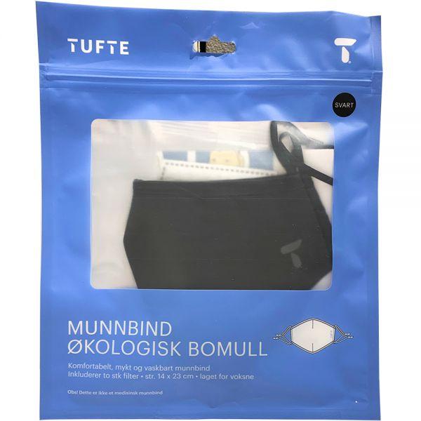 Tufte Face Mask black, 1 stk tøymunnbind i bomull, 2 stk engangsfilter, Apotekfordeg, 940456 - 1