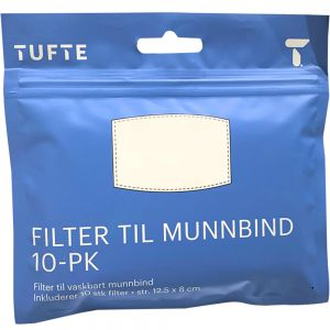 Tufte face mask filter, 10 stk, Apotekfordeg, 916875