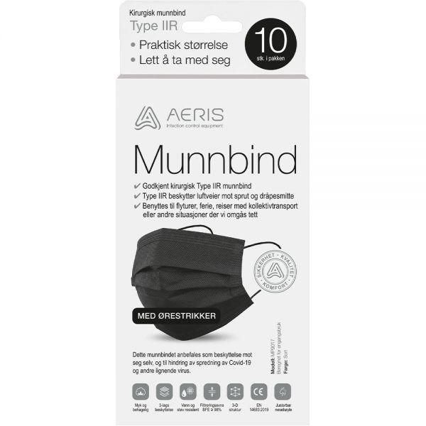 Aeris munnbind type IIR sort 10 stk - høykvalitets kirurgisk munnbind, Apotekfordeg, 919116