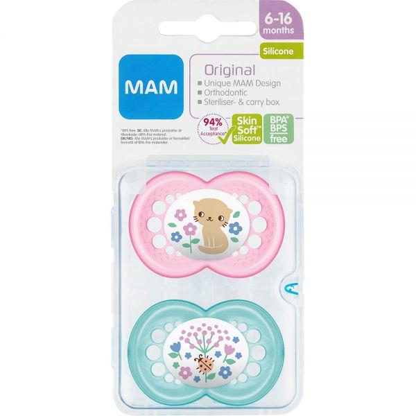 MAM Original 6-16 mnd Silk Teat Pink 2 stk - til baby fra 6-16 mnd, Apotekfordeg, 910513
